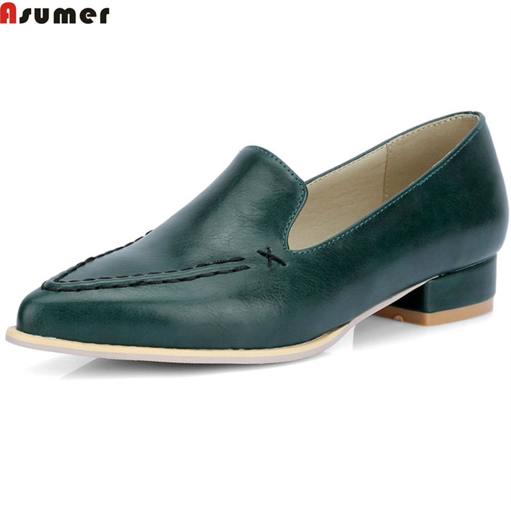 ASUMER Blackish green purple fashion pointed toe shallow casual flat shoes woman square heel women flats plus size 34-46 lankarin brand 2017 summer woman pointed toe flats ladies platform fashion rivet buckle strap flat shoes woman plus size