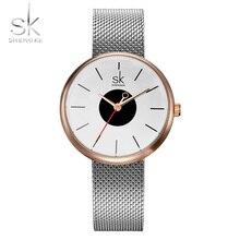 SK Moda de Nueva Marca Mujeres Causal Relojes de Pulsera Fósforo de La Mezcla de Cinta de Malla Femenina de Lujo Vestido de Reloj de Cuarzo de Las Señoras Reloj de Pulsera 2017
