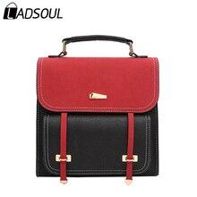 Здесь можно купить   LADSOUL Backpack Women Metal Sheets Pu Leather Casual Lady Versatile School Style Girls Panelled Hot Sale  Middle Bags A3521/h Backpacks
