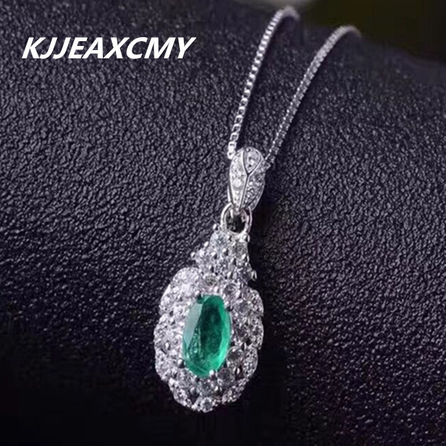 KJJEAXCMY boutique jewelry,925 Sterling Silver Natural grandmother emerald female pendant jewelry wholesale Necklace Silver 925 sterling silver jewelry silver silver ruyi lucky elephant pendant pendant wholesale silver peace