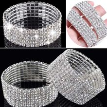 4/5/8 Rows Crystal Rhinestone Bracelet Bangle Bling Wristband Women Wedding Bridal Tennis Bracelet Jewelry Hot Free SHip(China)