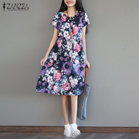 New Arrival ZANZEA Women Dress 2017 Vintage Floral Print Summer Midi Dresses Short Sleeve Casual Loose