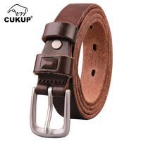 CUKUP Womens 100% Cow Genuine Leather Dress Belt Novelty Pin Buckle Retro Styles Belts for Women Accessories 24mm Width NCK450