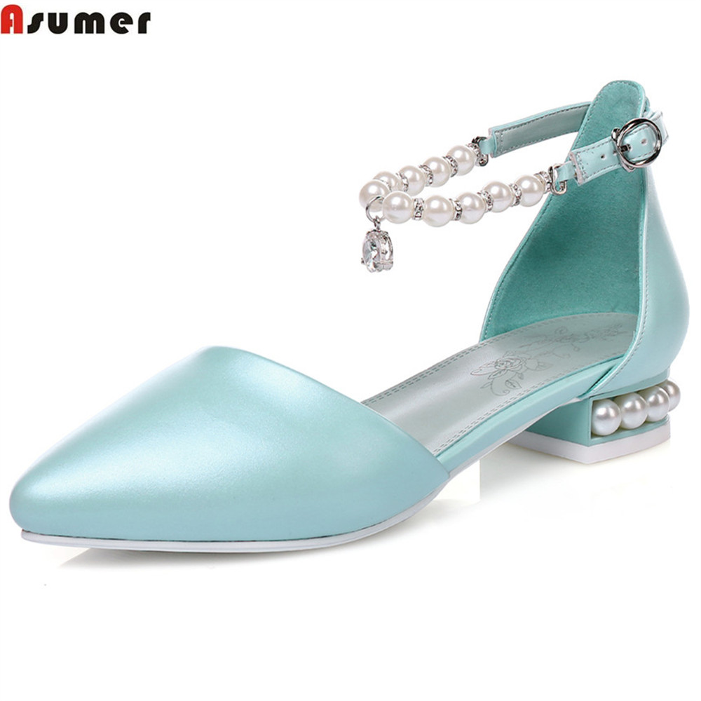 ASUMER plus size 32-45 fashion spring autumn women pumps pointed toe buckle ladies casual single shoes square heel new 2017 spring summer women shoes pointed toe high quality brand fashion womens flats ladies plus size 41 sweet flock t179
