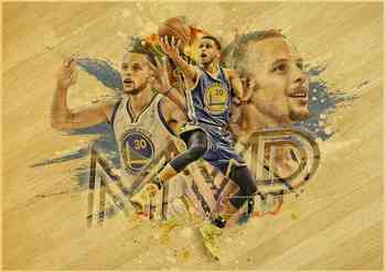 Stephen Curry basketball star vintage poster of a vintage kraft paper bar decorative wall sticker classic paintings 5