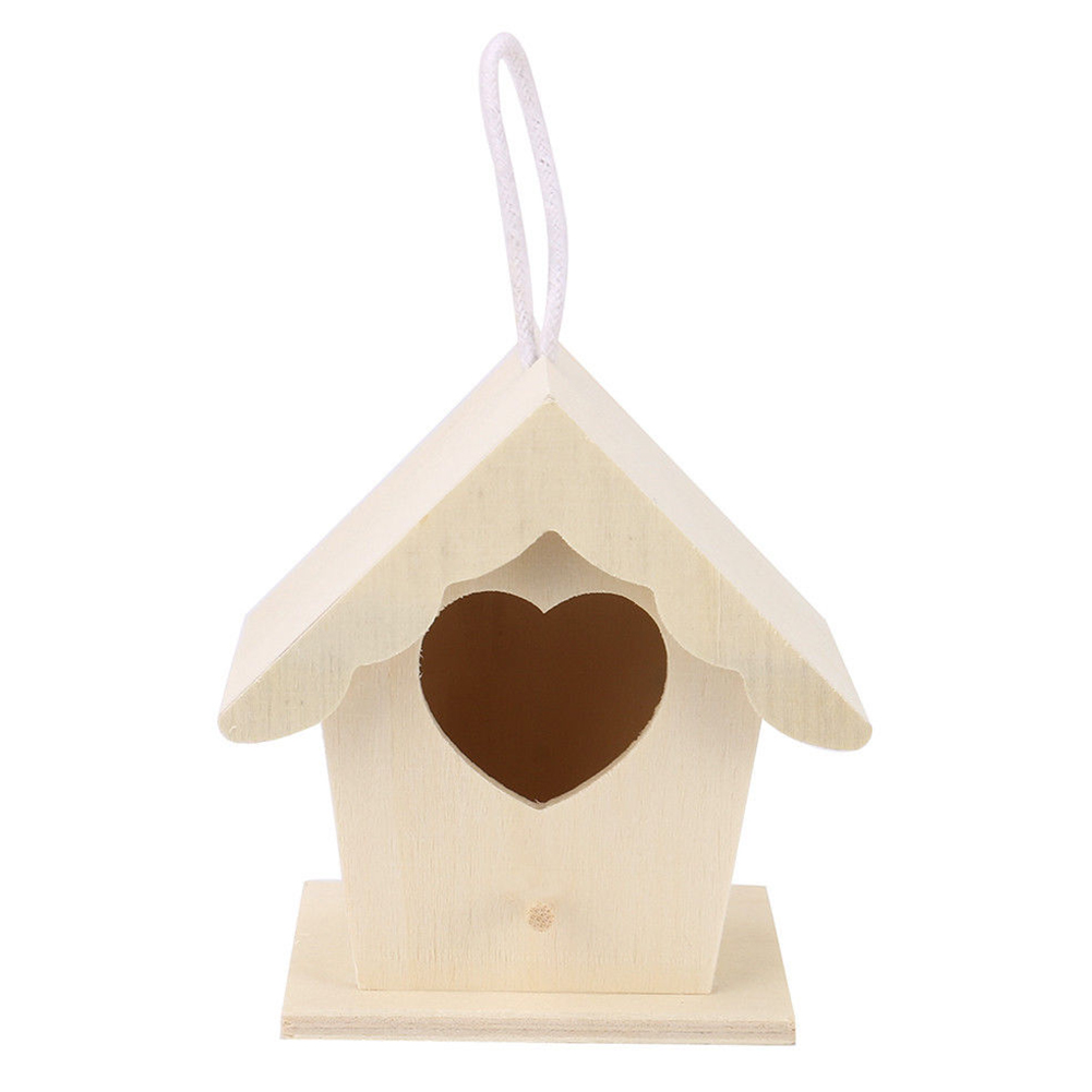 In Two Layers Easy Install Decoration Garden Bird Cage Aspen Wood Durable Diy Home Hanging Nest Exquisite Cabin Design Heart Shape Fragrant Flavor