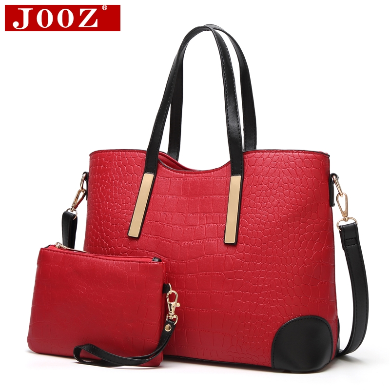 где купить JOOZ 2pcs Composite Bag female embossed leather handbag Alligator pattern Women Messenger Bags set women Shoulde bag дешево