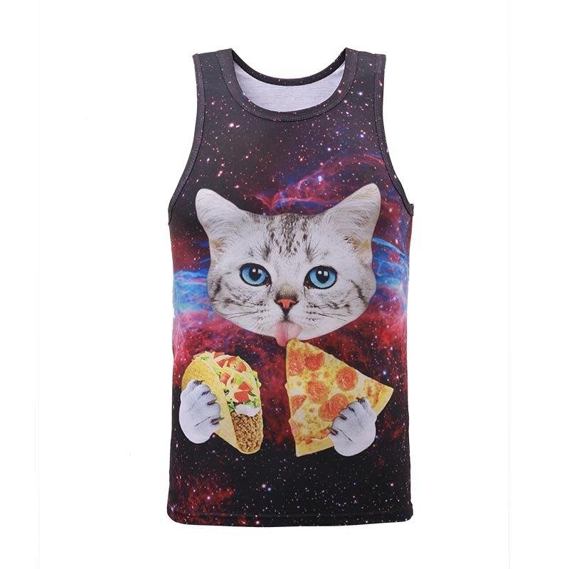 Sleeveless Crew Neck Tank Top//Space Pizza Cat Tank for Men