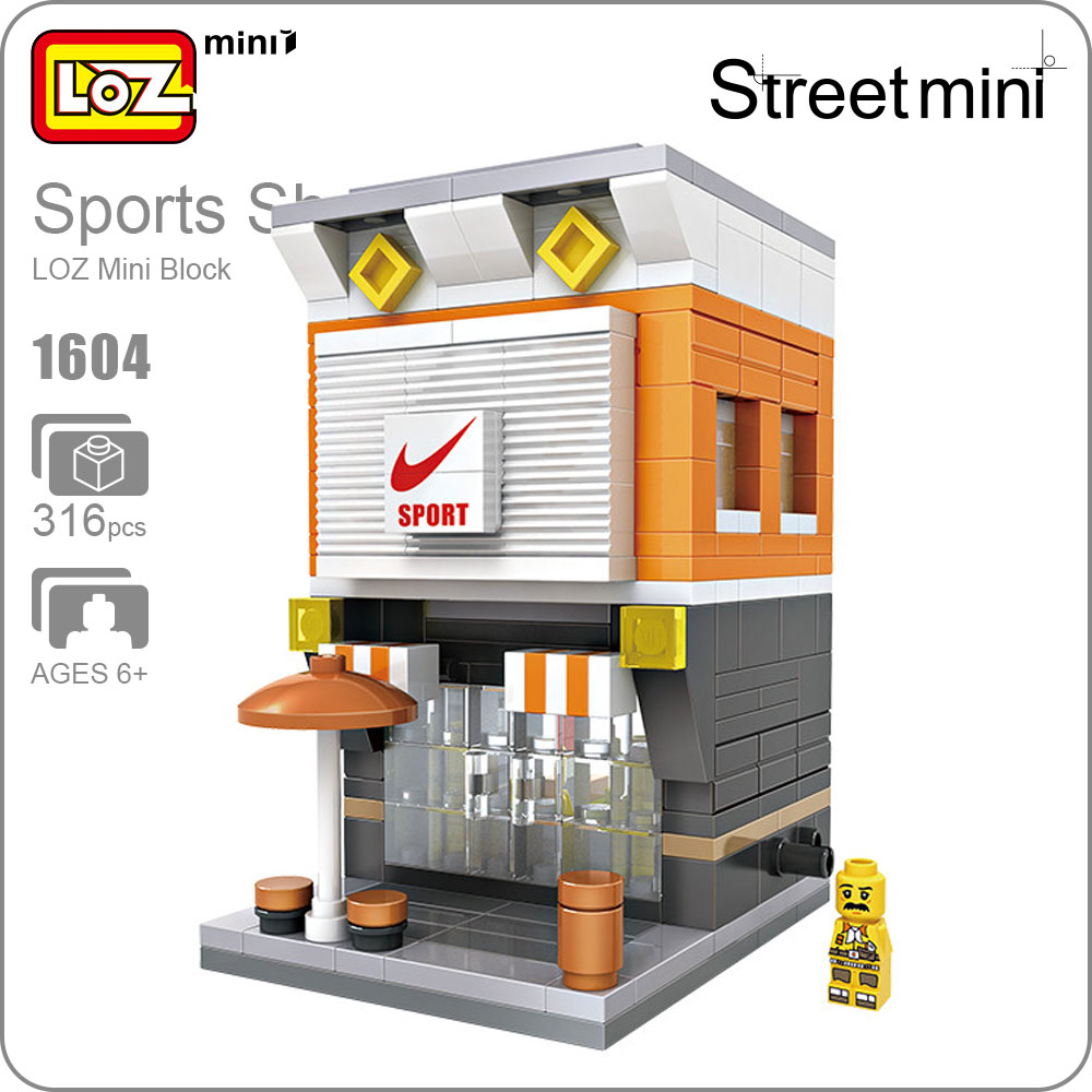 LOZ ideas City Store Mini Street Model Sport Toys Mini Blocks Gift Toys For Kids Building Assembly Toy Children Gift DIY 1604 loz mini diamond block world famous architecture financial center swfc shangha china city nanoblock model brick educational toys