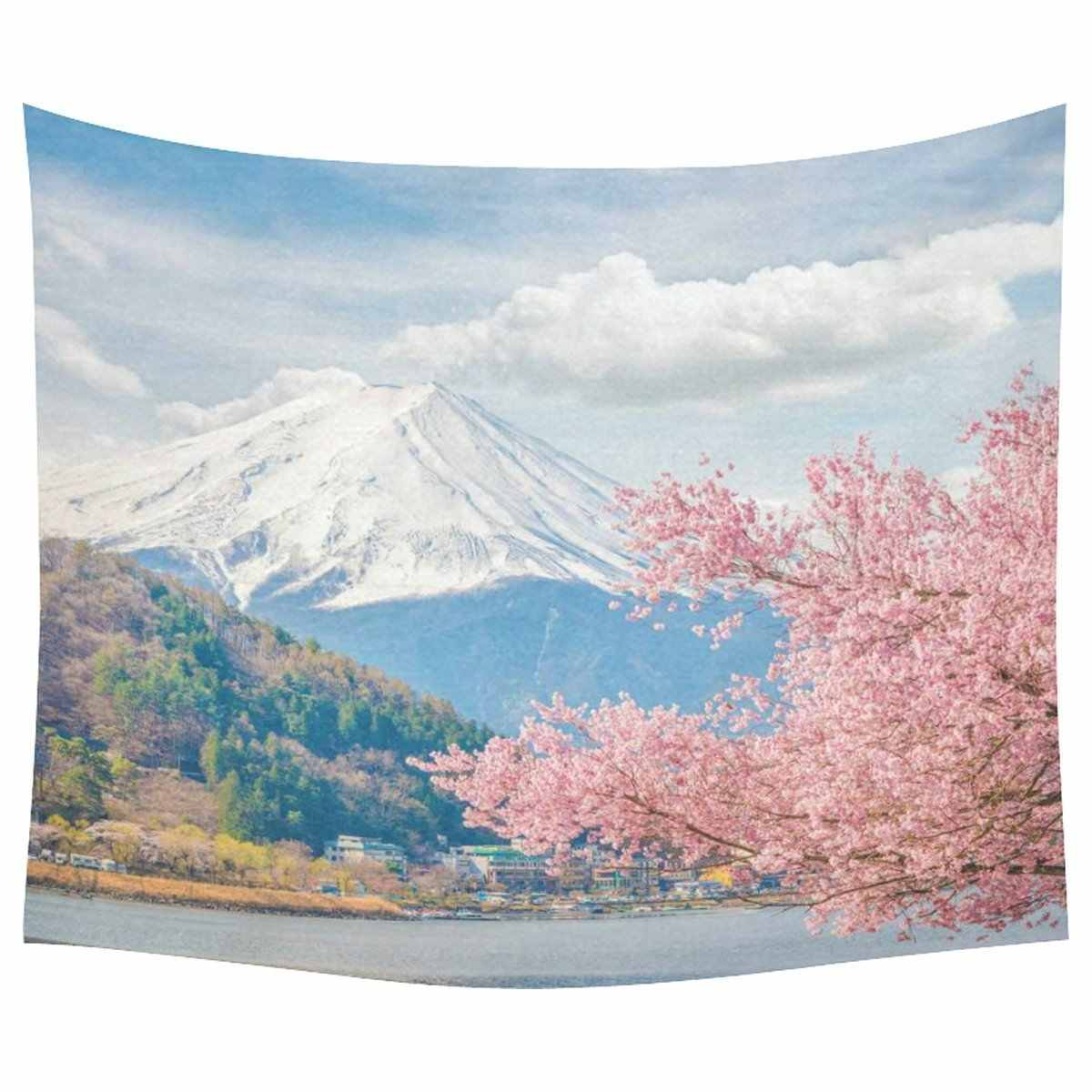 Japanese Cherry Blossoms Home Decor Tapestries Wall Art, Mountain Fuji Tapestry Wall Hanging Art