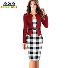 2017 Women Elegant Belted Tartan Long Sleeve Patchwork Tunic Work Business Casual Party Bodycon Pencil Sheath
