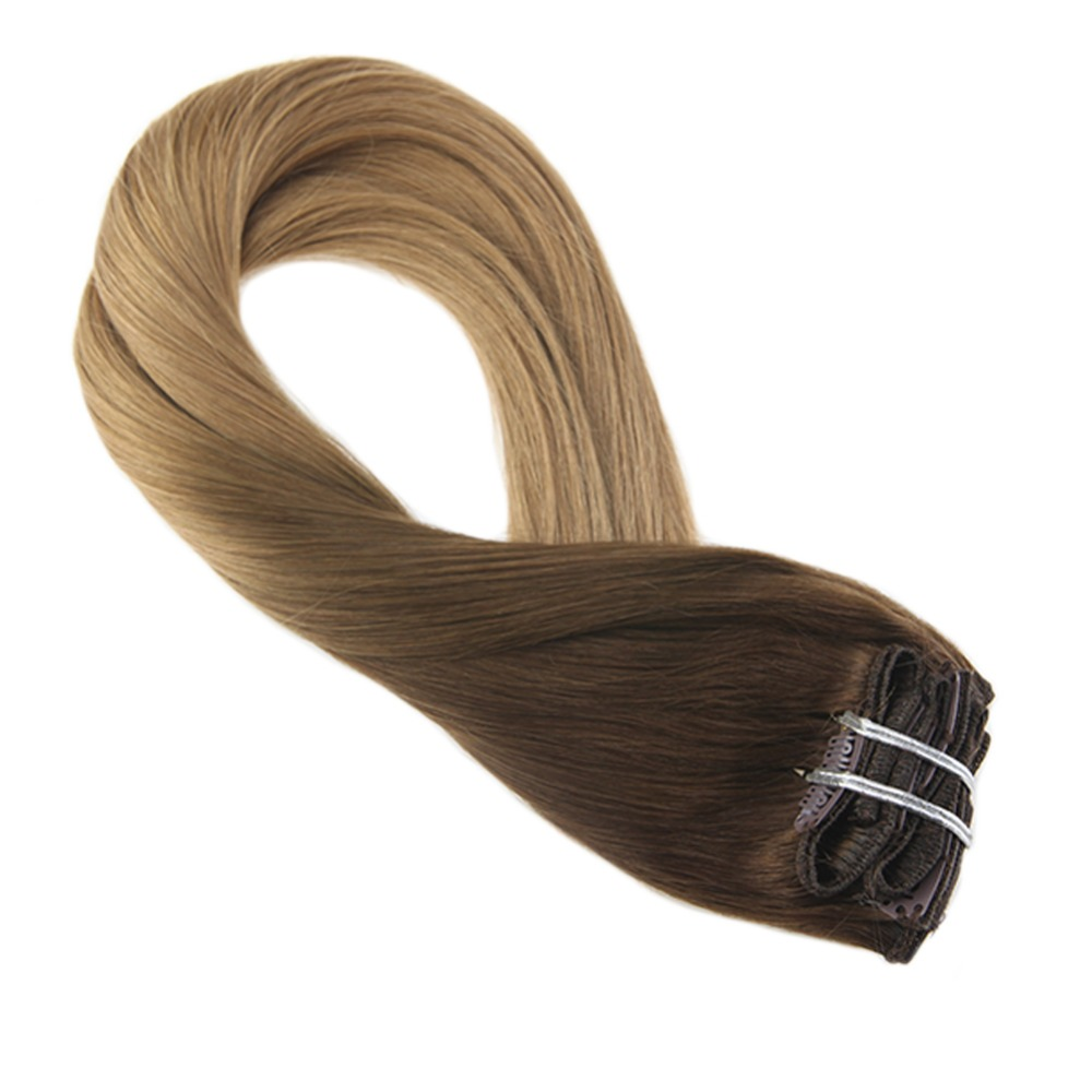 Moresoo Ombre Brown Color Remy Clip In Human Hair Extensions Thick Double Weft Full Head Hair Extensions 7Pcs 100g