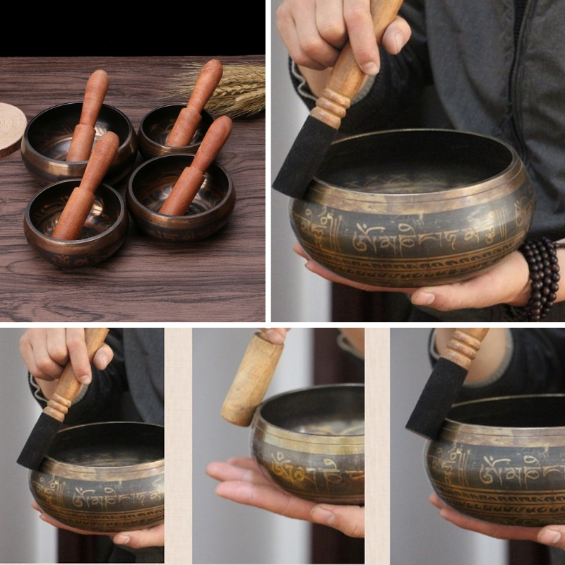 Buddhism Tibetan Singing Bowl Hand Hammered Yoga Copper Chakra Meditation Gift Relax Soothing Sound