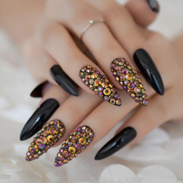 Glamour Rhinestone Extra Long Fake Nails Black Gel UV Press On Nails ...