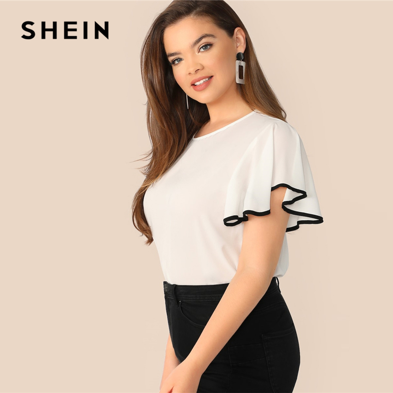 SHEIN Plus Size White Contrast Binding Butterfly Sleeve Button Ruffle Top Blouse Women 2019 Spring Casual Round Neck Top Blouses 2