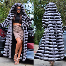 130cm Super Long Real Rex Rabbit Fur Coat Chinchilla Color Full Pelt Fur Women's Fur Coats Outerwear Warm Winter Big Sale New