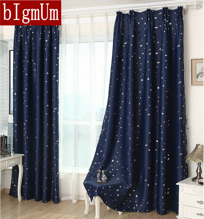 Summer StyleFashion Window Curtains Solid Finished Products Blackout For Dining Room Kitchen Stars Navy Blue