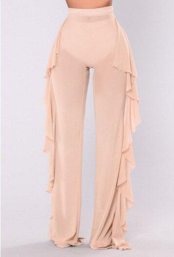 Women Sexy Ruffle Beach Mesh Pants Sheer Wide Leg Pants Transparent 15