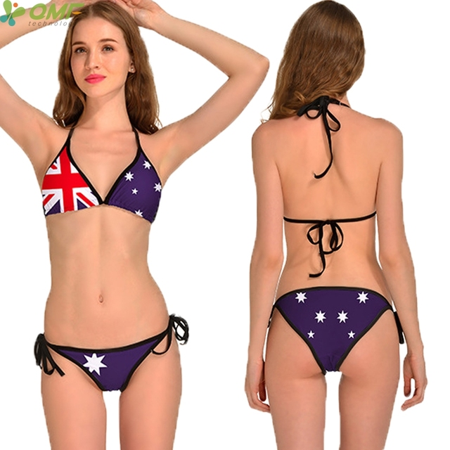 c7d3be2a5083b Flag Of Australia Bikinis Set Brazilian Padded Bandage Biquini Purple Stars  Australia National Flag Swimsuit Women Bathing Suit