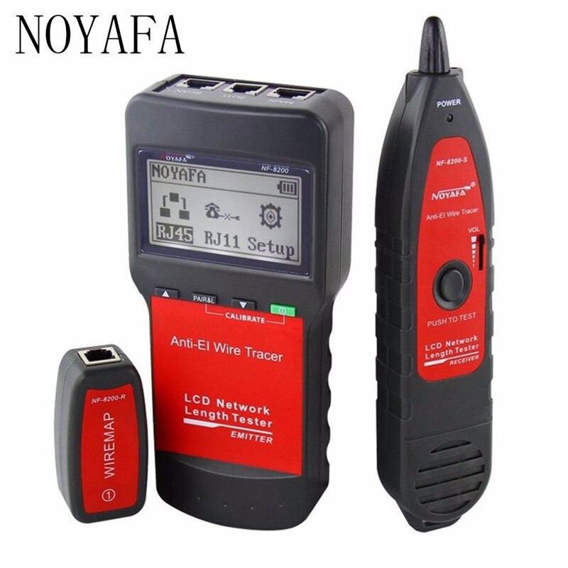 Noyafa NF-8200 RJ45 Cable Tester Rastreador Fio de Rede Ethernet LAN Comprimento do Cabo Tester Com Display LCD Backlight