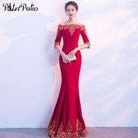 PotN Patio Mermaid Evening Dresses 2017 New Elegant Boat Neck Half Sleeevs Simple Long Evening Dresses