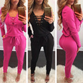 2017 Women Jumpsuit Bandage V Neck Long Sleeve Bodycon Jumpsuit Women Casual Sexy Women Rompers