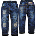 3961 patch de inverno calças de brim calças de brim menino double-deck de denim e velo AZUL MARINHO calça CASUAL calças meninos criança quente novo 2016