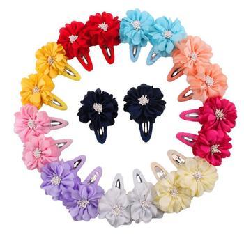 10olor 2pcs/pair Girls Kids hair accessories  flowers Hair Clip Kids hair rubber bands Kerean hair clips for girl