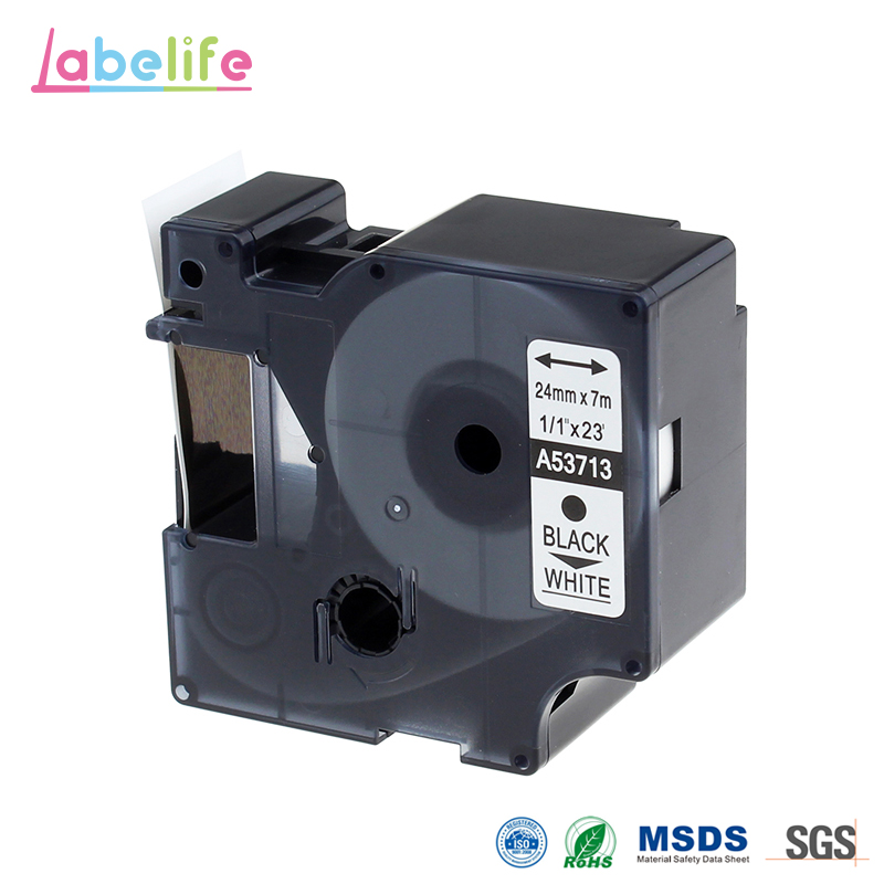 Labelife 1pcs 53713 Black on White 24mm X 7m Compatible Dymo D1 S0720930 Electronic Tape Cartridge for Dymo Label PrintersLabelife 1pcs 53713 Black on White 24mm X 7m Compatible Dymo D1 S0720930 Electronic Tape Cartridge for Dymo Label Printers