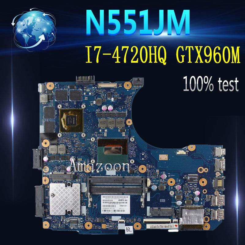 Amazoon  N551JW/N551JM Laptop Motherboard For ASUS N551JW N551JM N551JQ G551JW N551J Original Motherboard I7-4720HQ GTX960M-4G