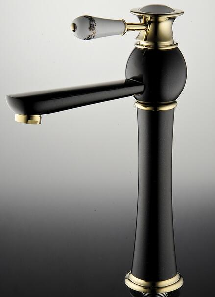 Single handle hot and cold water faucets bathroom black deck mounted ...