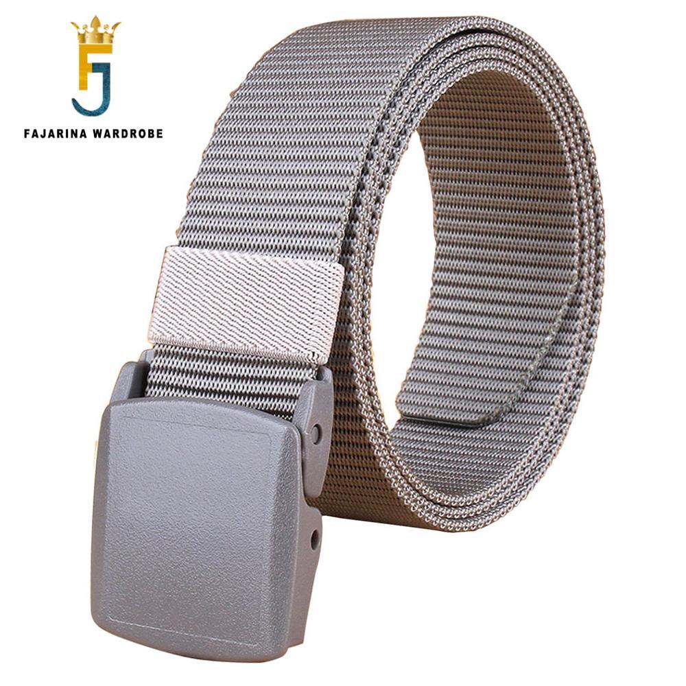 FAJARINA Unisex Quality Plastic Black Buckle Canvas Automatic Styles Straped Grey Nylon Belts for Men 95-125cm Length CBFJ0058