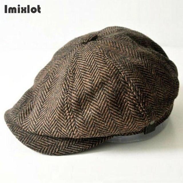 New Fashion Octagonal Cap Newsboy Beret Hat Autumn And Winter Hats For  Men s Coffee Color Handsome Plaid Casual Hat Beret Cap 256ca985916c
