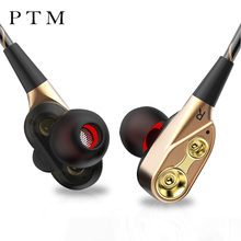NEW PTM P12 Earphones Dual Drivers Headphones Stereo Bass Headset Dual Dynamic In-Ear Earbuds with Mic for IPhone Xiaomi Sumsang