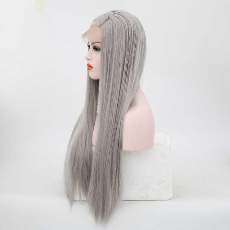 Peluca con malla frontal de pelo sintético carisma de alta temperatura, peluca completamente gris, peluca de Cosplay de pelo largo liso para mujer, pelucas resistentes al calor