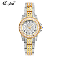 Miss Fox Ladies Gold Watch Wome Rhinestone Fashion Watches Golden Clock Super Mirror Quartz Movt Party Bracelet Chinese Watch
