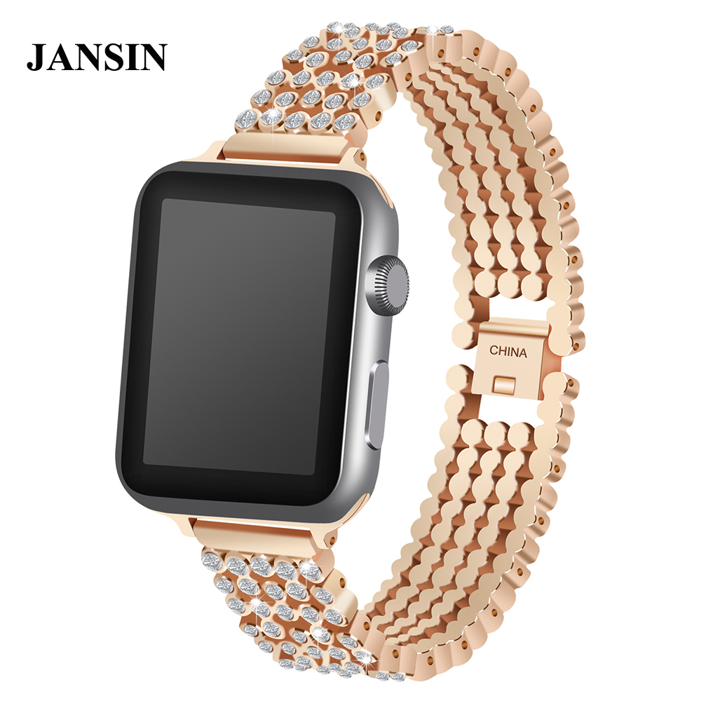 JANSIN Luxury Diamond Band For Apple Watch 38mm 40mm 42mm 44mm Series 1 2 3 4 Stainless Steel Wristband Metal Sport Strap fashion diamond bands for apple watch band 38mm 42mm 40mm 44mm stainless steel strap sport wristband for iwatch series 4 3 2 1