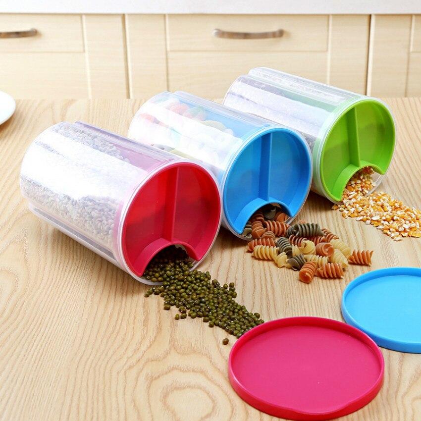 3 grid round plastic food containers kitchen storage box sealed jar