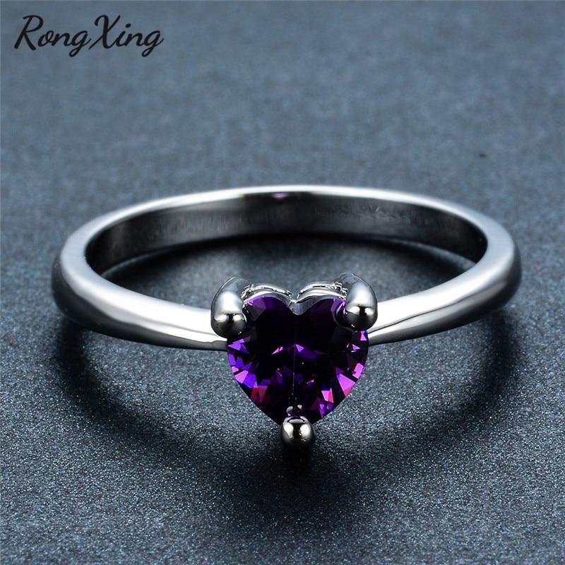 RongXing 925 пробы заполненный серебром браслет с сердцем из опала камень кольца для женщин Винтажная Мода фиолетовый/красный/синий/кольцо с зеленым Цирконом подарок