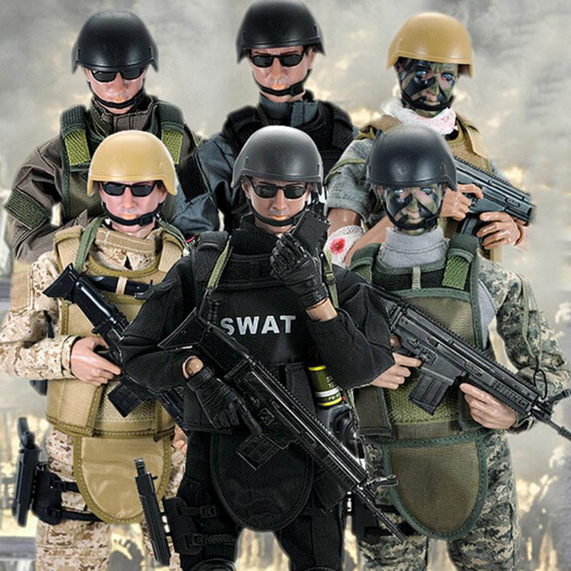 30cm Soldiers Action Figure Dolls Simulation Military Body Model Soldiers With Helmet Figurine Toy Camouflage Random Style soccerwe dolls figurine football stars 17 18 7 c ronaldo movable joints resin model toy action figure dolls collectible gift