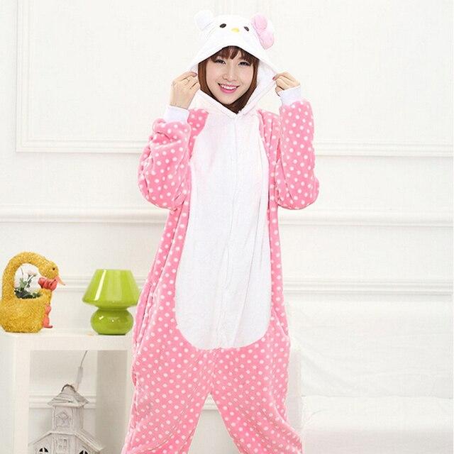 Hello Kitty Pajamas Adults Animal Kigurumi Women Hello Kitty Onesies Cosplay Costume Wave Point Kitty Cat Pyjamas Carnival Part