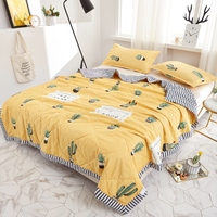 Modern style cactus Print yellow stripe Quilting Summer Quilt Twin Queen Size Throws Blanket Bedding Plaid Bedspread home textil