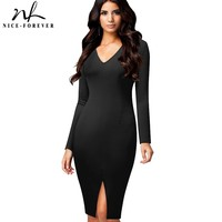 Nice Forever Solid Color Sexy V Neck Women Long Sleeve Plunge Club Wear Front Split Bodycon
