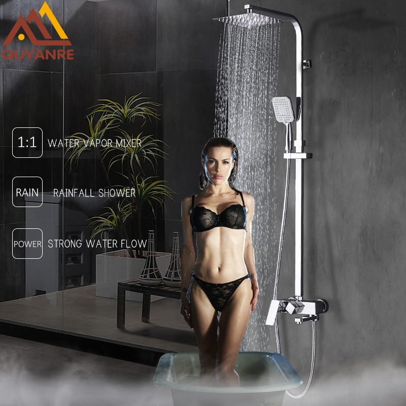 Quyanre Chrome Bathroom Shower Faucets Set 8 Rain Shower Head 2 way Handshower Mixer Shower Tap