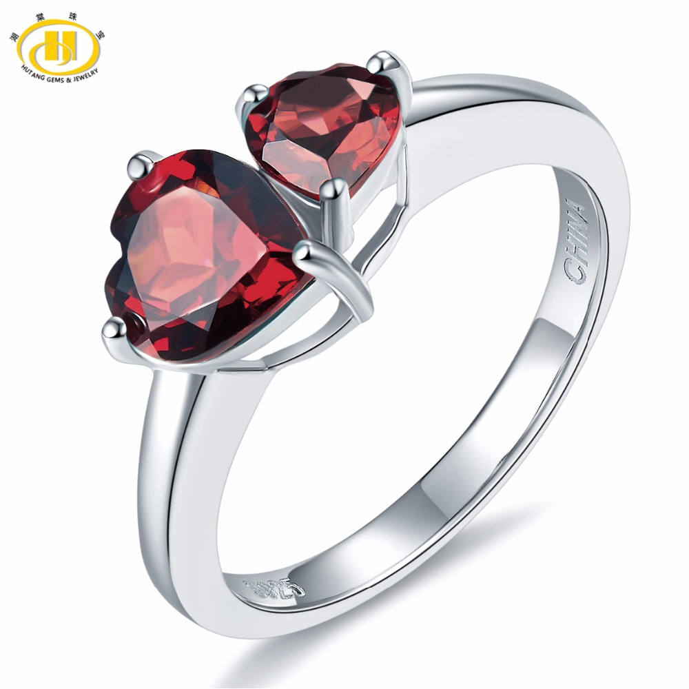 Hutang New Classic Double Heart Natural Garnet Female Ring Solid 925 Sterling Silver Gemstone Fine Jewelry for Women's Best Gift