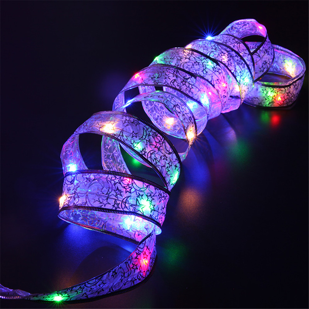 YIYANG 4M 40leds LED Christmas Holiday Bow Ribbon Light AA Battery Powered  String Lights Home Garden Party Decoration Lamp Cinta