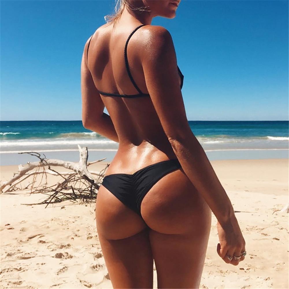 2018 Sexy Solid Thong Bikini Brazilian Bikini Bottoms Swimwear Women Bottom Briefs Swimsuit Panties Underwear Thong Bathing Suit 3