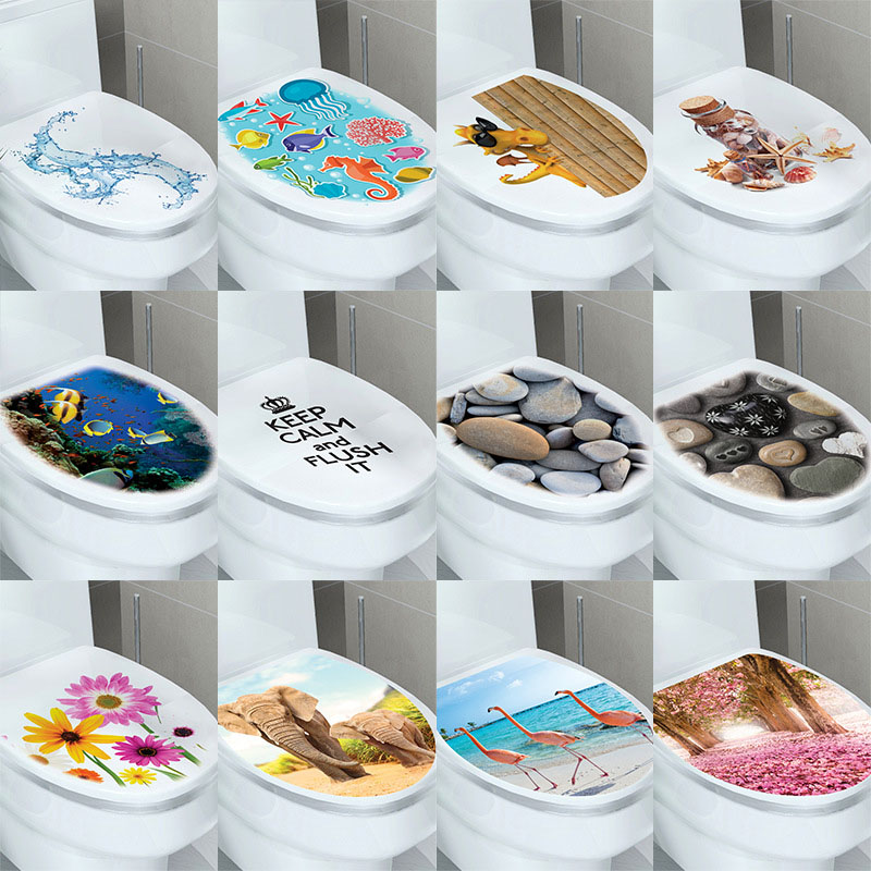 Multi Style Bathroom Sticker On The Toilet Muurstickers Home Decor Waterproof Paint Wall Decal Pegatinas De Pared Stereo Paper