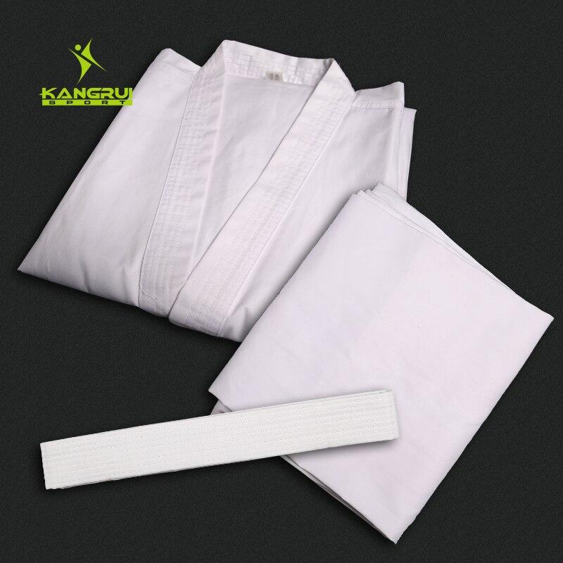 Белый хлопок каратэ равномерное спортивный костюм карате производительность Костюмы тхэквондо добок детей и взрослых детей, мужчин, женщи...