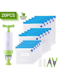 Vacuum-Seal-Bags Sealing-Clips Hand-Pump-Bag Food-Wrap Reusable with for 20/17pcs-Bag-Kits
